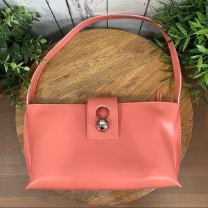 Furla Leather Salmon Baguette Shoulder Bag
